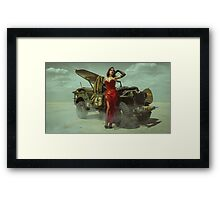 beautiful redhead pin up style wearing uniform wii with vintage aircraft war Framed Print