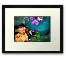 Still Life with Violets and a Bear Framed Print