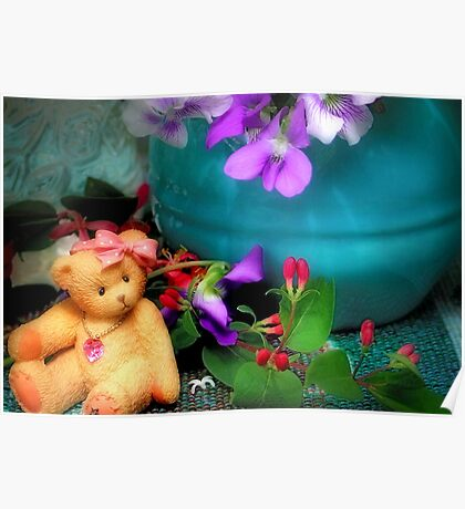 Still Life with Violets and a Bear Poster