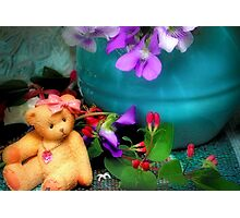 Still Life with Violets and a Bear Photographic Print