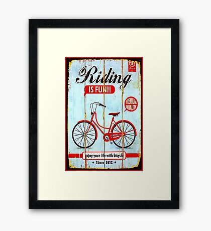 BICYCLE RIDING; Vintage Advertising Print Framed Print