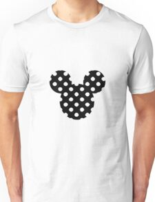 Mouse Silhouette Polka Dot Head Design Unisex T-Shirt