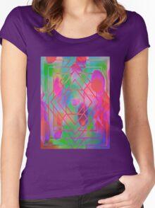 Trippy Blacklight Geometric Overlay Diamond Pattern Women's Fitted Scoop T-Shirt