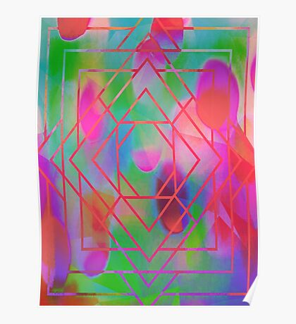 Trippy Blacklight Geometric Overlay Diamond Pattern Poster