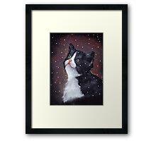 Kitten in Snow, Pastel Painting, Winter, Tuxedo Cat, Snowflakes Framed Print
