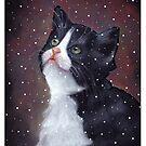 Kitten in Snow, Pastel Painting, Winter, Tuxedo Cat, Snowflakes by Joyce Geleynse