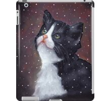 Kitten in Snow, Pastel Painting, Winter, Tuxedo Cat, Snowflakes iPad Case/Skin