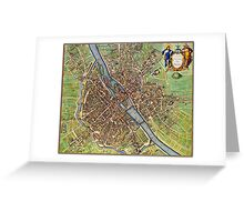 Vintage Historic Paris Map Greeting Card
