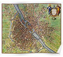 Vintage Historic Paris Map Poster