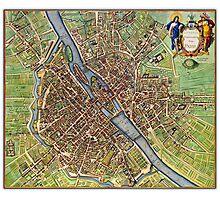 Vintage Historic Paris Map Photographic Print