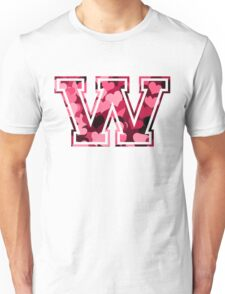 College letter W with hearts pattern Unisex T-Shirt