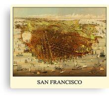 Vintage Historic San Francisco Map Canvas Print