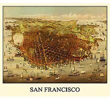 Vintage Historic San Francisco Map Photographic Print