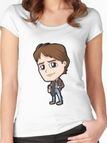 BTTF - Back to the Future Marty McFly 1985 Michael J Fox Chibi Women's Fitted Scoop T-Shirt