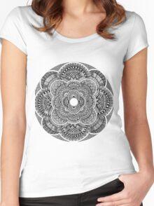 Black & White Mandala Women's Fitted Scoop T-Shirt