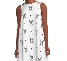 Pattern with fairy bunny  A-Line Dress