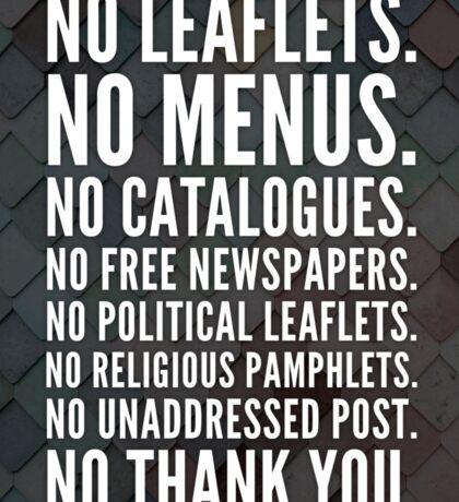 No leaflets (2) Sticker