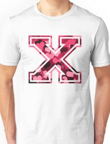 College letter X with hearts pattern Unisex T-Shirt
