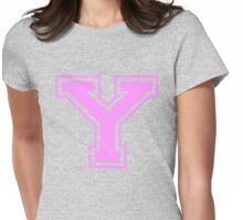 College letter Y in pink Womens Fitted T-Shirt