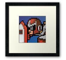 Protoman 8bit Halftone Framed Print