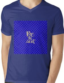 Be the light, glitter,glam,gold,typography,cool text, small white dots, deep blue, royal blue, modern,trendy Mens V-Neck T-Shirt