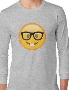 Nerd Glasses Buckteeth Emoji Design Long Sleeve T-Shirt
