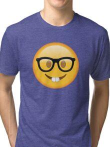 Nerd Glasses Buckteeth Emoji Design Tri-blend T-Shirt