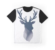 Abstract Navy Blue Deer Head Graphic T-Shirt