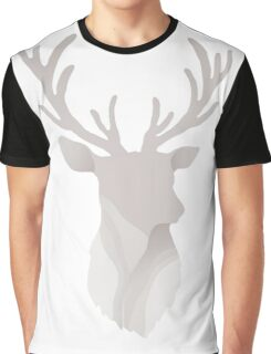 Abstract Gray Deer Head Graphic T-Shirt