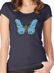 Blue Butterfly Cool Design Illustration Art Vintage T-Shirts Women's Fitted Scoop T-Shirt