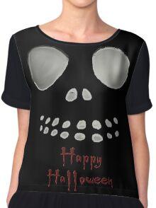 Happy Halloween, skeleton, skulls eyes, face Chiffon Top