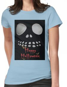Happy Halloween, skeleton, skulls eyes, face, bats Womens Fitted T-Shirt