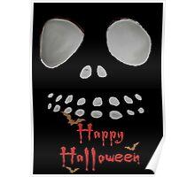 Happy Halloween, skeleton, skulls eyes, face, bats Poster