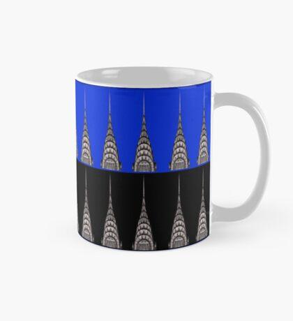 Chrysler Building Pattern in Blue and Black - Reverse Mug