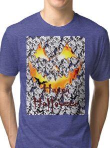 Happy Halloween, skeleton, skulls, pumpkin eyes, face, bats Tri-blend T-Shirt