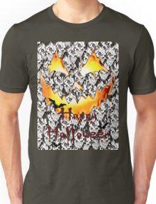 Happy Halloween, skeleton, skulls, pumpkin eyes, face, bats Unisex T-Shirt