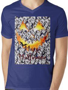 Happy Halloween, skeleton, skulls, pumpkin eyes, face, bats Mens V-Neck T-Shirt