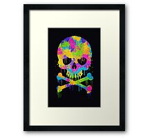Abstract Trendy Graffiti Watercolor Skull  Framed Print