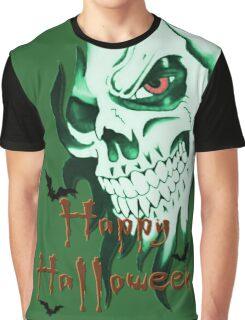 Happy Halloween, skeleton, skull, demonic eyes, face, bats Graphic T-Shirt