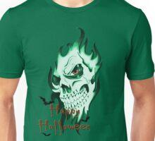 Happy Halloween, skeleton, skull, demonic eyes, face, bats Unisex T-Shirt