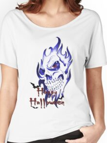 Happy Halloween, skeleton, skull, demonic eyes, face, bats 2 Women's Relaxed Fit T-Shirt