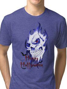 Happy Halloween, skeleton, skull, demonic eyes, face, bats 2 Tri-blend T-Shirt