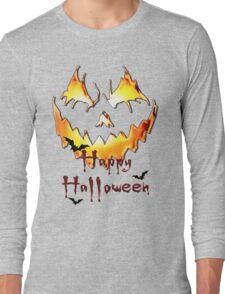 Happy Halloween, Jack O' Lantern face, spooky smile, bats Long Sleeve T-Shirt