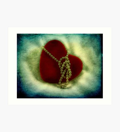 Heart and pearls Art Print