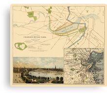 Map of Boston 1880 Canvas Print