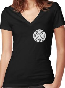 RADAR RADIO FRONT CORNER / BLACK - GRIME Women's Fitted V-Neck T-Shirt