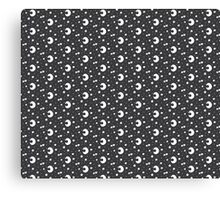 Moon and Stars Monochrome Pattern Canvas Print