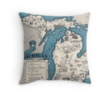 Vintage 1926 Michigan state map - Christmas gift idea Throw Pillow