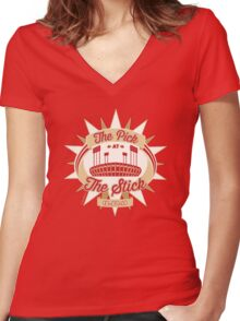 The Pick at the Stick Women's Fitted V-Neck T-Shirt
