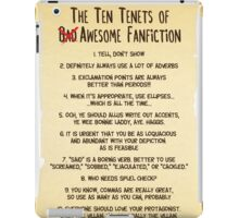 The Ten Tenets of Awesome Fanfiction iPad Case/Skin